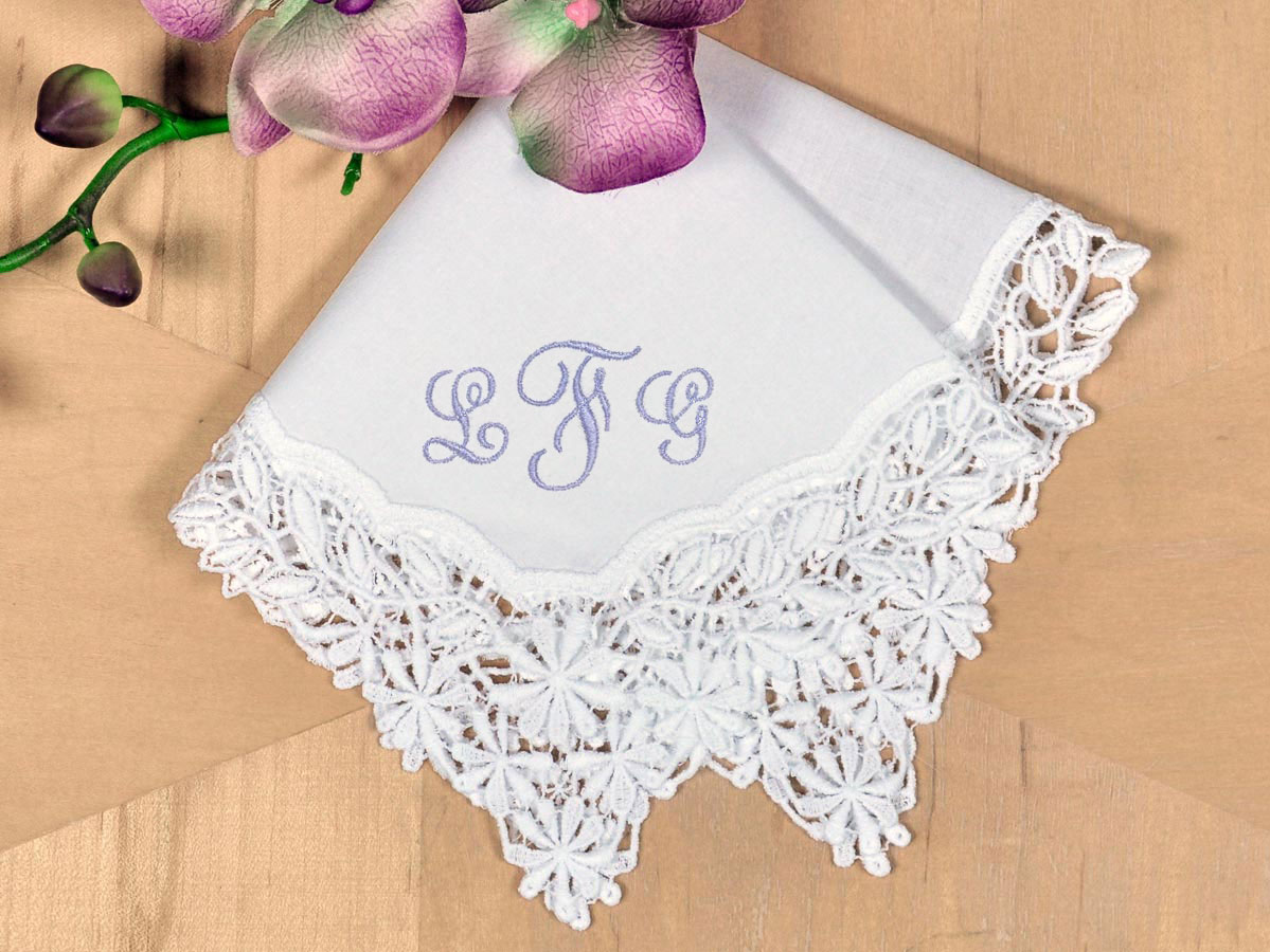 White Daisy German Plauen Lace Ladies Handkerchief