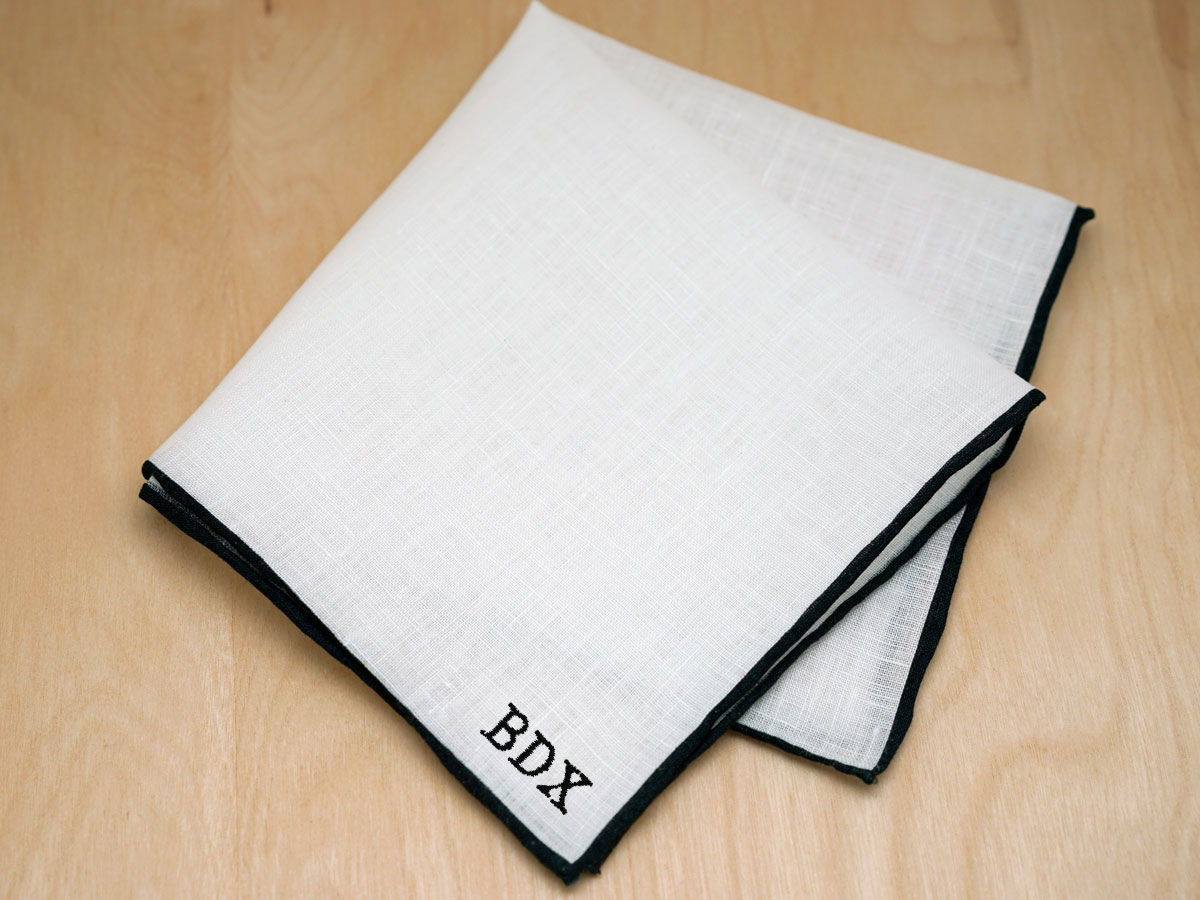 Black Edged Mens Linen Pocket Square