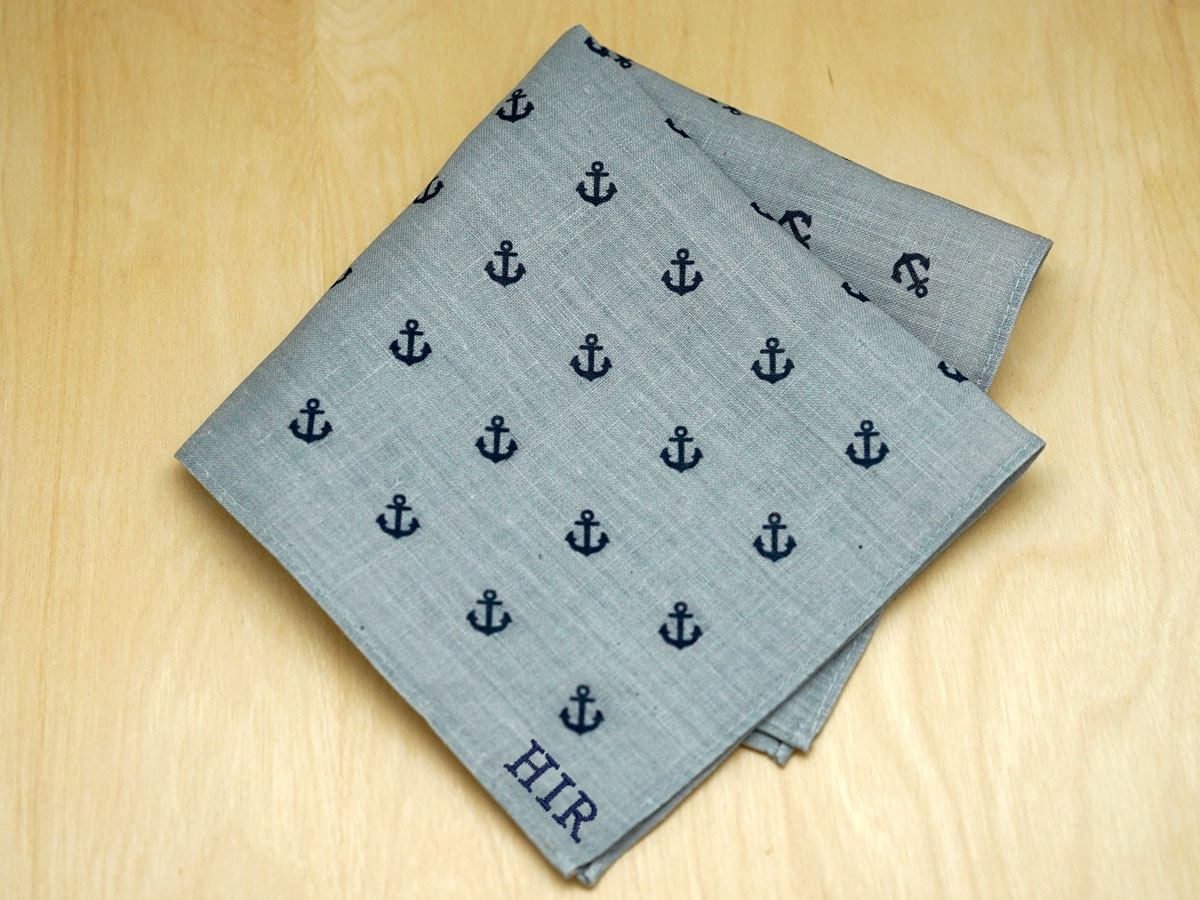 Gray Mens Linen Pocket Square with Navy Anchors