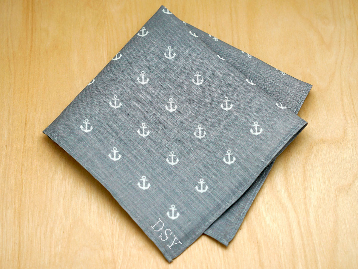 Nautical Gray Mens Linen Pocket Square