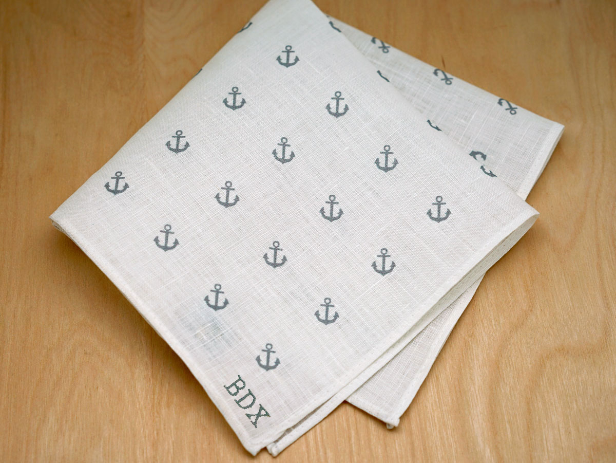 White Mens Linen Pocket Square With Gray Anchors