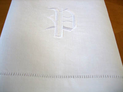 Monogrammed White Linen Hand Towel w/ Single Initial Font A