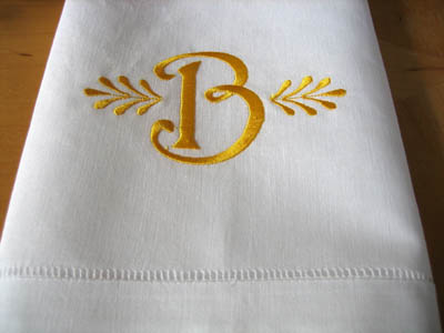 Monogrammed White Linen Hand Towel w/ Single Initial Font C