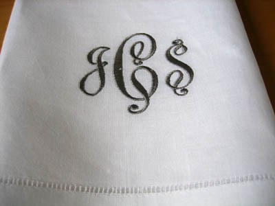 Monogrammed White Linen Hand Towel w/3 Initials Font B