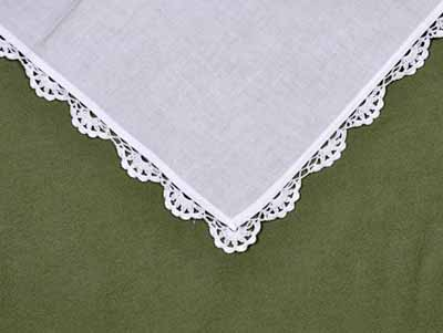 1 Dozen White Scalloped Crochet Lace Dinner Napkins