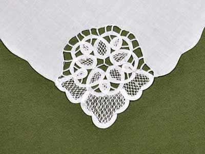 1 Dozen White Peony Cutwork Linen Dinner Napkins