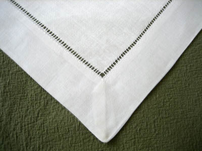 1 Dozen White Wide Hemstitched Linen Tea Napkins - 12 inch