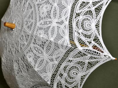 white wedding battenburg lace parasol