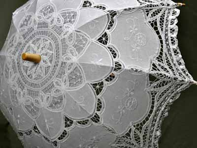 White Florence Battenburg Lace Parasol