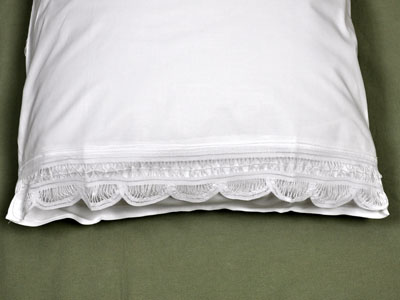 Pair of White Scallop Battenburg Lace Edge Pillowcases