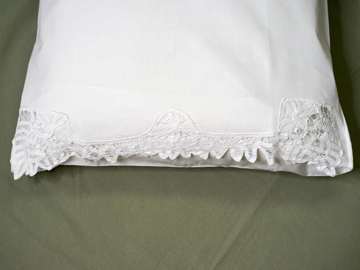 Pair of Floral Band of Battenburg Lace Pillowcases