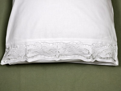 Pair of White Vine Cutwork Lace Pillowcases