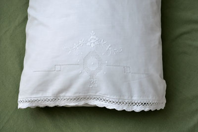 Pair of Linen Pillowcases with a Peony and Scallop Lace Edges
