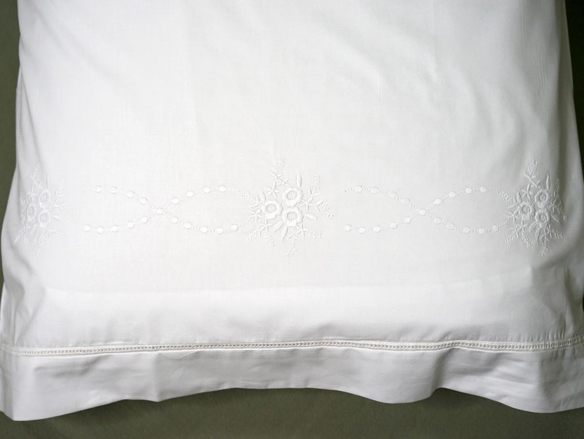 Pair of Cotton Pillowcases with Embroidered Flowers