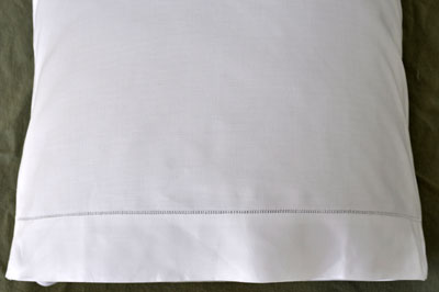 Pair of White Cotton Hemstitched Edge Pillowcases