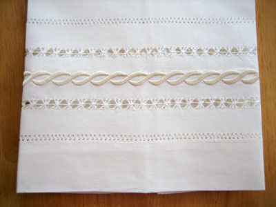 Set of 4 Ivory Linen Hand Towels with an Infinity Design