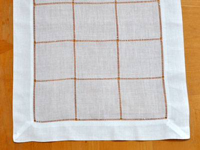 4 Pc Set White Square Hemstitched Linen Placemats