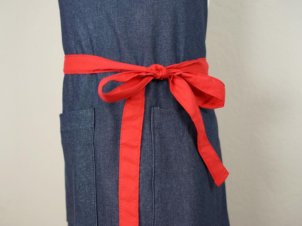 Dark Denim Kids Apron with Red Ties