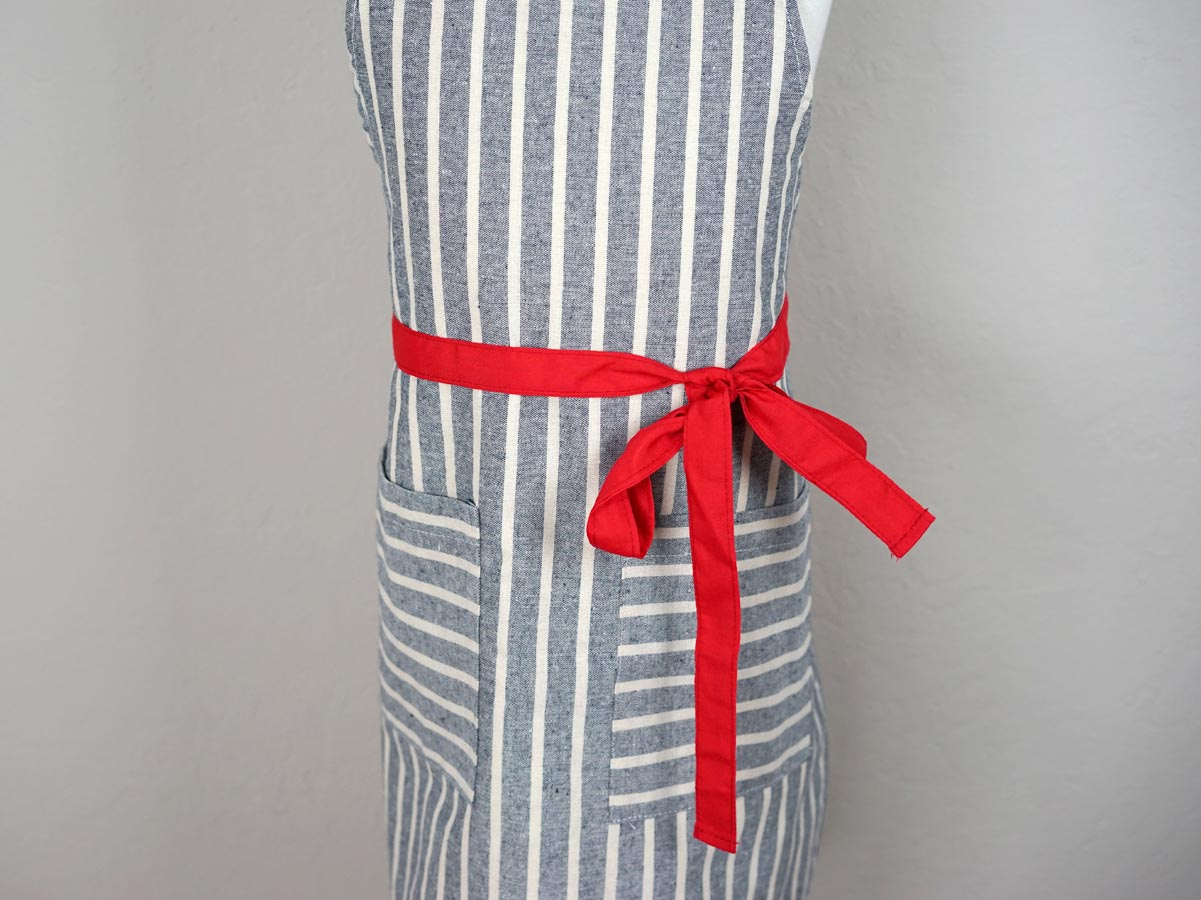 Striped Chambray Kids Apron with Red Ties