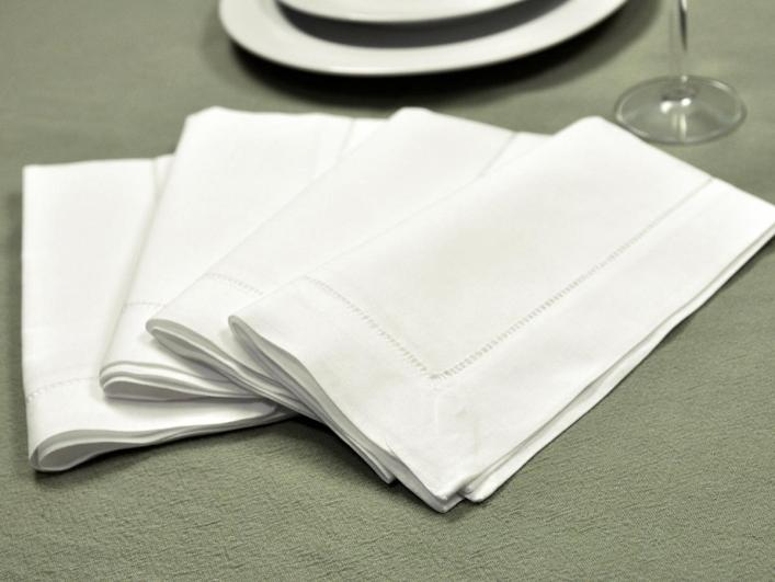 1 dozen white hemstitched linen dinner napkins