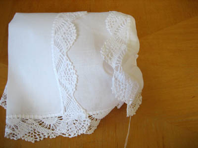 Making A Hankie Bonnet Out Of Wedding Handkerchiefs