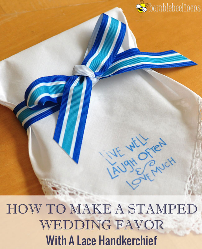 How To Make A Stamped Wedding Hankie Favor