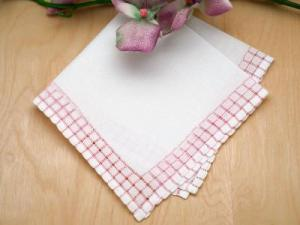 Set of 3 Pink Circle Band Border Handkerchiefs
