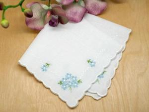 Daisy Four Corner 'Something Blue' Bridal Handkerchief