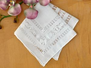 Hemstitched and Drawnwork Lace Wedding Bridal Handkerchief