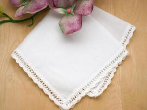Set of 3 Scallop Ribbon Wedding Handkerchiefs