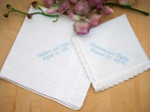 Personalized Bride Groom Hankie Bridal Set - Font L