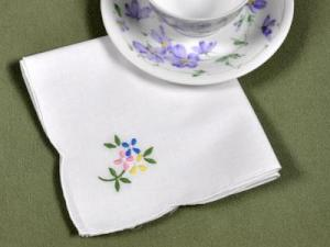 1 Dozen Tea Napkins with an Embroidered Flower Bouquet