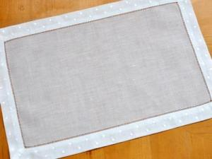 4 Pc Set White Hemstitched Linen Placemats w/Dot Border