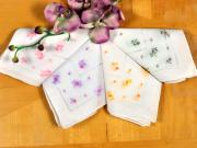 Set of 4 Floral Cross Stitch Bridal Handkerchiefs
