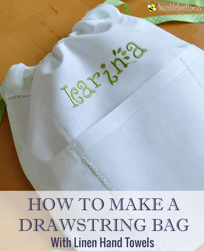 Making A Drawstring Backpack Out Of Linen Hand Towels